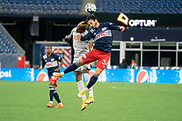 FOXBOROUGH, MA - APRIL 17: Oalex Anderson #11 of Richmond Kickers and Ryan Spaulding #34 of New England Revolution II compete for a high ball during a game between Richmond Kickers and Revolution II at Gillette Stadium on April 17, 2021 in Foxborough, Massachusetts.