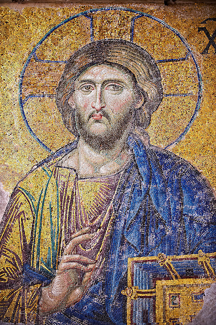Byzantine Deësis ( Entreaty) mosaic , 1261, detail of Christ Pantocrator for humanity on Judgment Day.   Hagia Sophia, Istanbul, Turkey