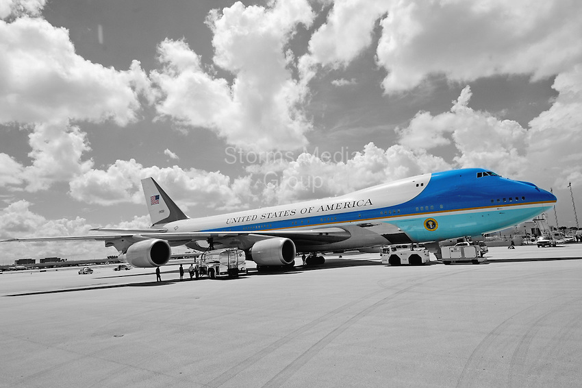 SMG_President Barack Obama_FLXX_Arrival_092012_44.JPG<br /> <br /> MIAMI, FL - SEPTEMBER 20: US President Barack Obama can't open his eyes in the bright Florida sun as he arrives on Air Force One on a hot sunny Florida day at Miami International Airport.  The  President is in Florida to participate in a taping for Univision in Miami before attending a campaign event in Tampa.  on September 20, 2012 in Miami, Florida. (Photo By Storms Media Group)  <br /> <br /> People:  President Barack Obama<br /> <br /> Transmission Ref:  FLXX<br /> <br /> Must call if interested<br /> Michael Storms<br /> Storms Media Group Inc.<br /> 305-632-3400 - Cell<br /> 305-513-5783 - Fax<br /> MikeStorm@aol.com