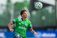 LAKE BUENA VISTA, FL - JULY 14: Shandon Hopeau #37 of the Seattle Sounders looks at the ball during a game between Seattle Sounders FC and Chicago Fire at Wide World of Sports on July 14, 2020 in Lake Buena Vista, Florida.