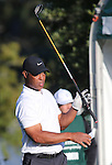 NFL Hall of Famer Marcus Allen watches his shot during the final round of the American Century Championship at Edgewood Tahoe Golf Course in Stateline, Nev., on Sunday, July 19, 2015. <br /> Photo by Cathleen Allison