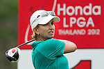 CHON BURI, THAILAND - FEBRUARY 17:  Karrie Webb of Australia tees off on the 11th hole during day two of the LPGA Thailand at Siam Country Club on February 17, 2012 in Chon Buri, Thailand.  Photo by Victor Fraile / The Power of Sport Images