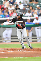 Birmingham Barons left fielder Luis Basabe (3) squares to bunt during a game against the Tennessee Smokies at Smokies Stadium on May 15, 2019 in Kodak, Tennessee. The Smokies defeated the Barons 7-3. (Tony Farlow/Four Seam Images)