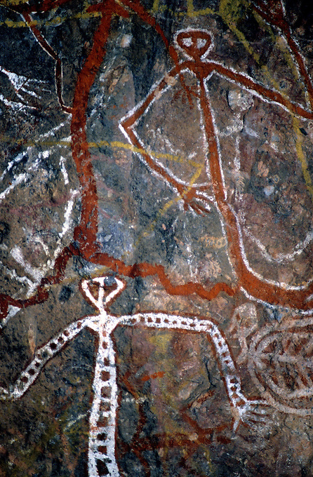 Images from the Book Journey Through Colour and Time,Aborigine Rock Art,Arnhem Land Northern Terriory MIMI SPRIT FIGURES PAINTED ON A CAVE WALL 1000 OF YEARS AGO
