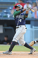 Lexington Legends second baseman Delino DeShields Jr. #4 swings at a pitch during a game against the Asheville Tourists at McCormick Field on May 7, 2012 in Asheville, North Carolina . The Tourists defeated the Legends 4-3. (Tony Farlow/Four Seam Images).