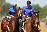 May 19, 2012 Hamazing Destiny, Corey Nakatani up, takes part in the post parade before winning the 26th running of the Grade III Maryland Sprint Handicap at Pimlico Race Course in Baltimore, Maryland. photo by Joan Fairman Kanes