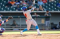 Rocket City Trash Pandas second baseman Luis Aviles Jr. (14) at bat against the Tennessee Smokies at Smokies Stadium on July 2, 2021, in Kodak, Tennessee. (Danny Parker/Four Seam Images)