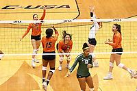 SAN ANTONIO, TX - SEPTEMBER 14, 2018: The University of Texas at San Antonio Roadrunners fall to the Baylor University Bears 3-2 (21-25, 25-20, 28-26, 20-25, 9-15) at the UTSA Convocation Center. (Photo by Jeff Huehn)