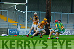 Abbeydorney keeper Nigel Roche about to clear his defence despite pressure from Conor O' Brien and Michael Kelliher from Lixnaw in the Senior Hurling Championship quarter final.