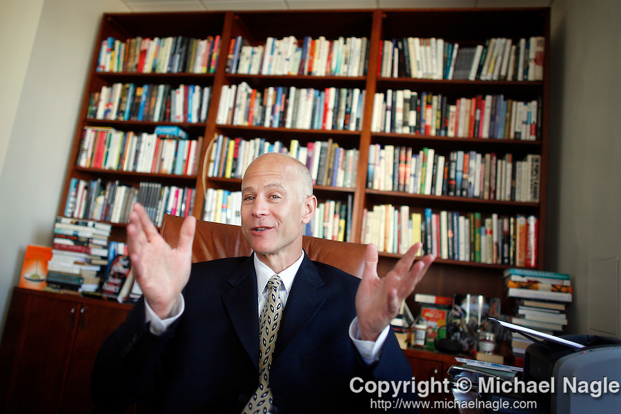 NEW YORK - JULY 24, 2007:   Literary agent Richard Pine poses for a portrait in his office at Inkwell Management on July 24, 2007 in New York Times.  (PHOTOGRAPH BY MICHAEL NAGLE)