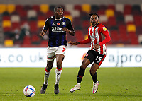 7th November 2020; Brentford Community Stadium, London, England; English Football League Championship Football, Brentford FC versus Middlesbrough; Tariqe Fosu of Brentford marking Anfernee Dijksteel of Middlesbrough