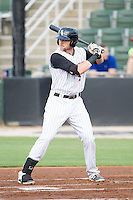 Trey Michalczewski (27) of the Kannapolis Intimidators at bat against the Savannah Sand Gnats at CMC-Northeast Stadium on June 9, 2014 in Kannapolis, North Carolina.  The Intimidators defeated the Sand Gnats 4-2.  (Brian Westerholt/Four Seam Images)