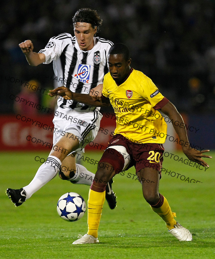 Fudbal, Champions league,Group H season 2010/2011.Partizan Vs. Arsenal.Johan Djourou, left and Cleo.Beograd, 29.09.2010..foto: Srdjan Stevanovic/Starsportphoto ©
