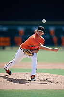 Baltimore Orioles pitcher Matthias Dietz (60) delivers a pitch during an Instructional League game against the Atlanta Braves on September 25, 2017 at Ed Smith Stadium in Sarasota, Florida.  (Mike Janes/Four Seam Images)