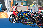 Wales Oliver Mathias in action during the Triathlon Mixed Relay<br /> <br /> *This image must be credited to Ian Cook Sportingwales and can only be used in conjunction with this event only*<br /> <br /> 21st Commonwealth Games - Triathlon Mixed Relay  -  Day 3 - 07/04/2018 - Southport Boardwater Parklands - Gold Coast City - Australia