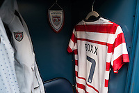 The locker for Shannon Boxx (7) of the United States (USA). The United States (USA) and Germany (GER) played to a 2-2 tie during an international friendly at Rentschler Field in East Hartford, CT, on October 23, 2012.