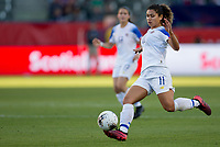 CARSON, CA - FEBRUARY 07: Raquel Rodriguez #11 of Costa Rica moves with the ball during a game between Canada and Costa Rica at Dignity Health Sports Park on February 07, 2020 in Carson, California.