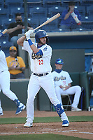 Brandon Lewis (23) of the Rancho Cucamonga Quakes bats against the Stockton Ports at LoanMart Field on May 26, 2021 in Rancho Cucamonga, California. (Larry Goren/Four Seam Images)