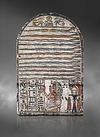 "Ancient Egyptian stele dedicated to Meretsesger, limestone, New Kingdom, 19th Dynasty, (1279-1213 BC), Deir el-Medina, Egyptian Museum, Turin. Grey background.<br /> <br /> The stele is divided into 3 registers. In the top section 2 wedjat eyes with shen sign above 3 zigzag lines indicating water are depicted. The second, largest register, is divided into 12 horizontal strips. Each is occupied by a coloured snake facing to the right.In the bottom register 3 columns of hieroglyphic text worship the goddess Meretseger: ""life, strength and health to the ka and the lady of the house Wab, the justified."" To the right of the text the deceased woman is kneeling with her hands raised in adoration. She  wears a white robe. A lotus flower is placed on top of her wig. Behind her head there are 4 hieroglyphic signs that form the phrase ""at peace"". To the right of the scene there is an offering table with a vessel flanked by a bunch of lotus flowers. Below the table there are 2 vessels on pedestals."