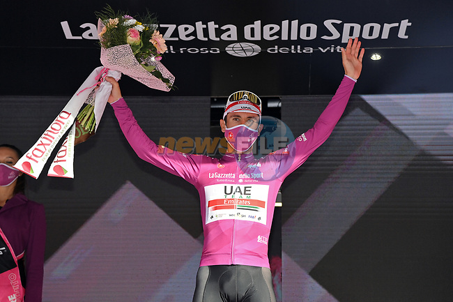 Diego Ulissi (ITA) UAE Team Emirates wins Stage 2 and takes over the points Maglia Ciclamino of the 103rd edition of the Giro d'Italia 2020 running 149km from Alcamo to Agrigento, Sicily, Italy. 4th October 2020.  <br /> Picture: LaPresse/Gian Mattia D'Alberto | Cyclefile<br /> <br /> All photos usage must carry mandatory copyright credit (© Cyclefile | LaPresse/Gian Mattia D'Alberto)