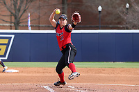 GREENSBORO, NC - MARCH 11: Amber Bumbalough #22 of Northern Illinois University pitches the ball during a game between Northern Illinois and UNC Greensboro at UNCG Softball Stadium on March 11, 2020 in Greensboro, North Carolina.