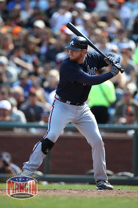 SAN FRANCISCO, CA - AUGUST 28:  Freddie Freeman #5 of the Atlanta Braves bats against the San Francisco Giants during the game at AT&T Park on Saturday, August 25, 2012 in San Francisco, California. Photo by Brad Mangin