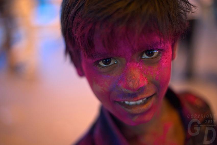 Boy during the Holi Festival Jaipur Rajasthan India