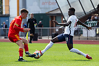 3rd September 2021; Newport, Wales:  Harry Jewitt White of Wales and Michael Olakigbe of England challenge for the ball during the U18 International Friendly  match between Wales and England at Newport Stadium in Newport, Wales.