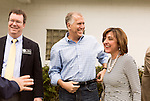 April 6, 2014. Durham, North Carolina.<br />  Thom Tillis, center with his wife Susan, is one of eight Republican candidates running for Democrat Kay Hagan's Senate seat.<br /> As the the primary scheduled for May 6th grows near, several of the the eight Republican candidates running for the US Senate seat of incumbent Democrat Kay Hagan have increased their public visibility, appearing at events such as the Durham County Lincoln Douglas Lunch, where each candidate was given a few minutes to address the gathered Republican friendly crowd.