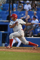 Clearwater Threshers pinch hitter Willians Astudillo (4) at bat during a game against the Dunedin Blue Jays on April 10, 2015 at Florida Auto Exchange Stadium in Dunedin, Florida.  Clearwater defeated Dunedin 2-0.  (Mike Janes/Four Seam Images)