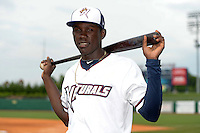 NW Arkansas Naturals shortstop Orlando Calixte (3) poses for a photo after a game against the Corpus Christi Hooks on May 26, 2014 at Arvest Ballpark in Springdale, Arkansas.  NW Arkansas defeated Corpus Christi 5-3.  (Mike Janes/Four Seam Images)