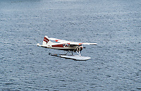 Floatplane preparing to land, Ketchikan, Alaska, USA