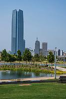 Oklahoma City, Oklahoma. Scissortail Park, with Devon Tower in background.