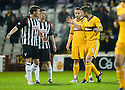 MOTHERWELL'S STEPHEN CRAIGAN  CONTINUES HIS ARGUMENT WITH PARS ANDY BARROWMAN AFTER BEING SENT OFF