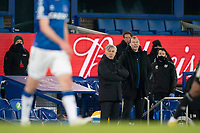 14th February 2021, Doddison Park, Liverpool, England;  Evertons manager Carlo Ancelotti front watches from the touchline during the Premier League match between Everton and Fulham at Goodison Park in Liverpool