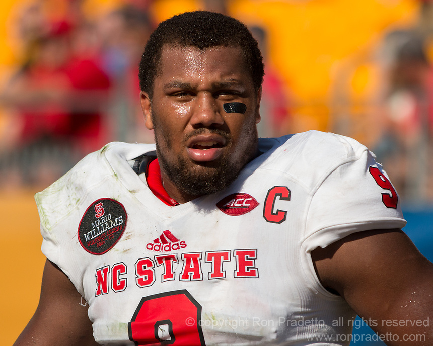 North Carolina State defensive lineman Bradley Chubb. The North Carolina Wolfpack defeated the Pitt Panthers 35-17 at Heinz Field, Pittsburgh, PA on October 14, 2017.