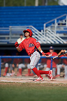 Williamsport Crosscutters second baseman Jesus Azuaje (4) follows through on a swing during the second game of a doubleheader against the Batavia Muckdogs on August 20, 2017 at Dwyer Stadium in Batavia, New York.  Batavia defeated Williamsport 4-3.  (Mike Janes/Four Seam Images)
