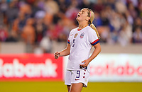 HOUSTON, TX - JANUARY 31: Lindsey Horan #9 of the United States narrowly misses during a game between Panama and USWNT at BBVA Stadium on January 31, 2020 in Houston, Texas.