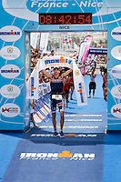 Triathlete Paul Amey wins second place at Ironman France 2012, Nice, France, 24 June 2012.