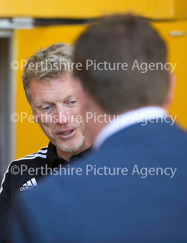 St Johnstone v Real Sociadad...12.07.15  Bayview, Methil (Home of East Fife FC)<br /> David Moyes shakes hands with Tommy Wright prior to kick off<br /> Picture by Graeme Hart.<br /> Copyright Perthshire Picture Agency<br /> Tel: 01738 623350  Mobile: 07990 594431
