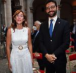 MARIA ELENA BOSCHI  E FRANCESCO D'UVA<br /> RICEVIMENTO 14 LUGLIO 2021 AMBASCIATA DI FRANCIA<br /> PALAZZO FARNESE ROMA