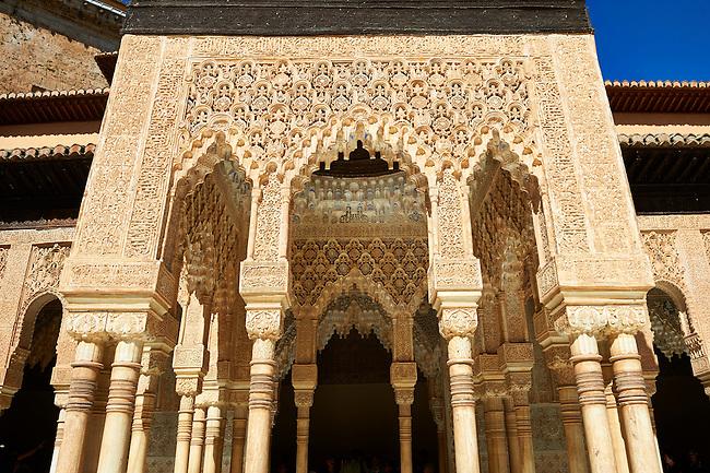 Arabesque Moorish architectureof the Patio de los Leones (Court of the Lions)   of the Palacios Nazaries,  Alhambra. Granada, Andalusia, Spain.