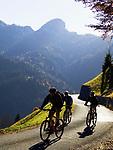 Oesterreich, Salzburger Land, Heutal, Mountainbiker auf der Panoramastrasse | Austria, Salzburger Land, Heutal (Hay Valley), mountain biker at panorama road
