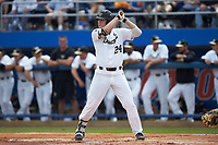 Gavin Sheets (24) of the Wake Forest Demon Deacons at bat against the Florida Gators in Game Two of the Gainesville Super Regional of the 2017 College World Series at Alfred McKethan Stadium at Perry Field on June 11, 2017 in Gainesville, Florida.  (Brian Westerholt/Four Seam Images)