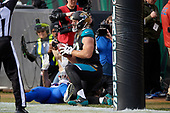 Jacksonville Jaguars Ben Koyack (83) after catching a touchdown pass from Blake Bortles (not shown) in the third quarter during an NFL Wild-Card football game against the Buffalo Bills, Sunday, January 7, 2018, in Jacksonville, Fla.  (Mike Janes Photography)