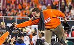 Clemson head coach Dabo Swinney celebrates defeating Alabama to win the 2017 College Football Playoff National Championship in Tampa, Florida on January 9, 2017.  Clemson defeated Alabama 35-31. Photo by Mark Wallheiser/UPI
