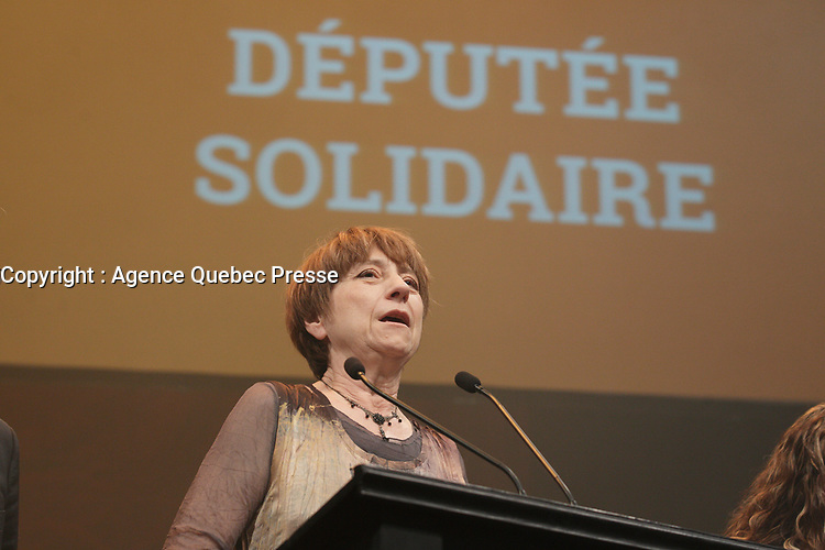 Quebec Solidaire gathering at Olympia theatre on election night ,April 7, 2014.<br /> <br /> <br /> Francoise David, Leader,  Quebec Solidaire gathering at Olympia theatre on election night ,April 7, 2014.