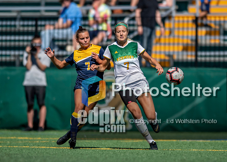 1 September 2019: University of Vermont Catamount Defender Christina Barry, a Senior from Apple Valley, MN, battles Merrimack College Warrior Forward Vanessa Wainwright, a Freshman from Schenectady, NY, in Game 3 of the TD Bank Women's Soccer Classic at Virtue Field in Burlington, Vermont. The Lady Warriors rallied in the second half to defeat the Catamounts 2-1. Mandatory Credit: Ed Wolfstein Photo *** RAW (NEF) Image File Available ***