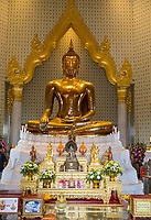 Bangkok, Thailand.  Wat Traimit, Temple of the Golden Buddha.  The Buddha sits in the Bhumisparsha gesture, calling the earth to witness.