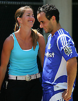 MLS All-Star Landon Donovan shares a laugh with Brandi Chastain before playing Fulham at Columbus Crew Stadium in Columbus, OH Saturday, July 30, 2005. The MLS All-Stars won 4-1. (Photo by Brooks Parkenridge/ISI)